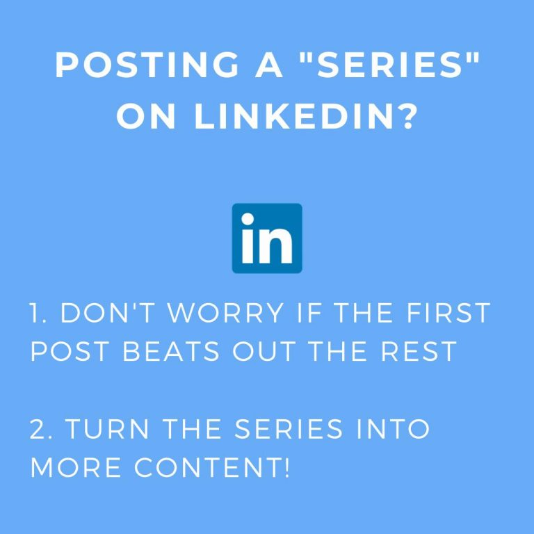 guide to posting series on Linkedin